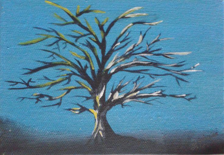 Demi  12,5x17,5 cm Peinture acrylique et phosphorescent par endroits