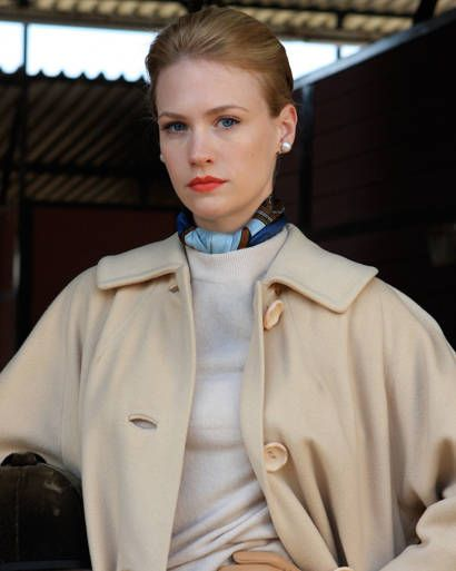 """HER COOL, COOL COLOR PALETTE  """"The winter white cashmere coat is a vintage…"""