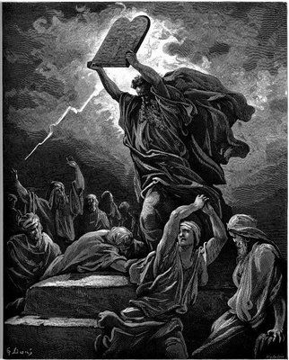 Gustave Dore, Moses Showing the Tablets of the Law, from his engraved illustrations to the Bible, 1865