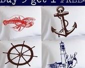 Buy 3 Get 1 Free / NAUTICAL PILLOWCASES Pillow case Anchor Ship Whale Boat Wheel lifesaver compass light house lighthouse beach decor