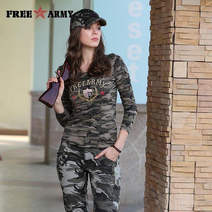 Autumn Cotton Printing T Shirts Women Tops Tees Military Slim Spandex Casual T Shirt Long Sleeve Women Camo Shirt GS-8359B