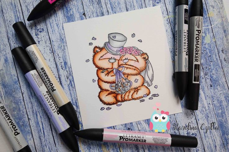 Coloring Fizzy Moon Bear stamp with promarkers -  tutorial