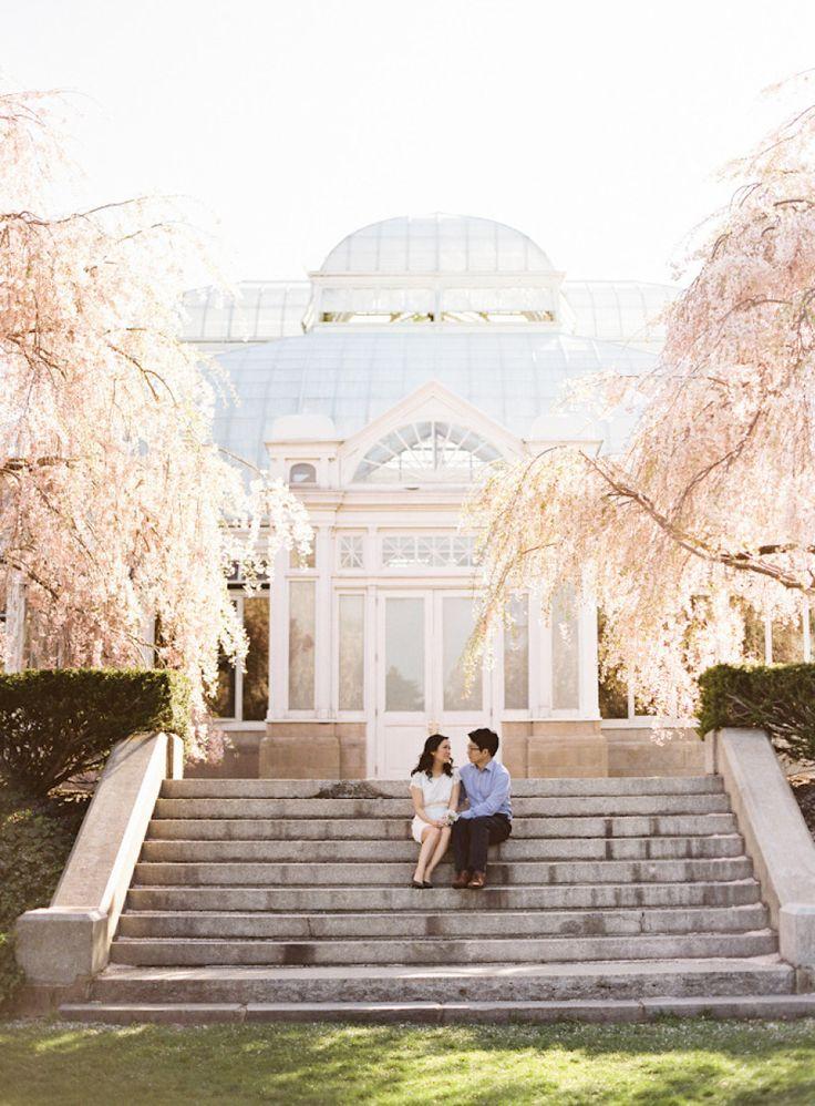 wedding ceremony new york city%0A New York City Botanical Garden Engagement from Judy Pak Photography