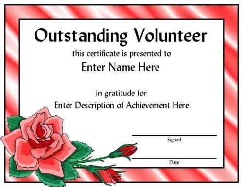 volunteer award certificate template