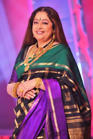 Kiron Kher in a beautiful Gaurang Shah Saree. She can only carry so many neck pieces together and yet look elegant. Description by Pinner Mahua Roy Chowdhury
