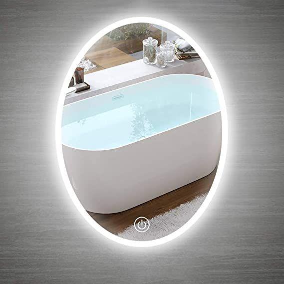 Beauty Mirror Led Bathroom Mirror Backlit Wall Mounted Modern Waterproof Oval Finger Touch Light Mirror W In 2020 Led Mirror Bathroom Mirror With Lights Beauty Mirror