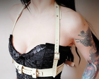 Unisex Leather Full Chest Harness Tan steampunk от Vontoon