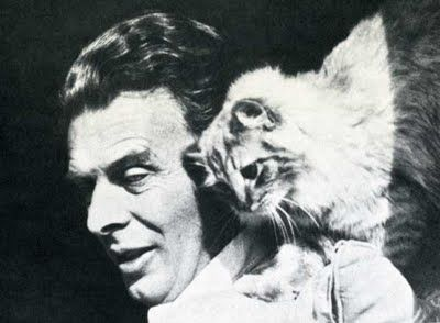 Aldous Huxley and Limbo the cat. #books BookLikes.com