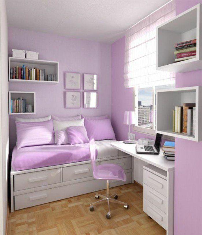 conforama chambre fille en violette pale et parquet bois naturel