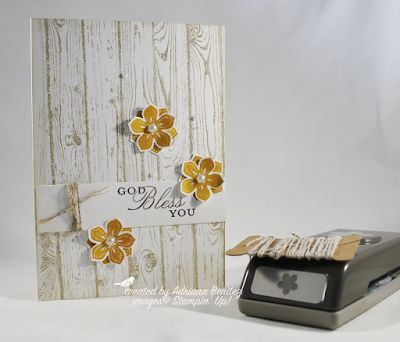 hand stamped card ...Petite Petals ... from Escape2stamp ... whitewashed weathered wood look background twine and petals ...