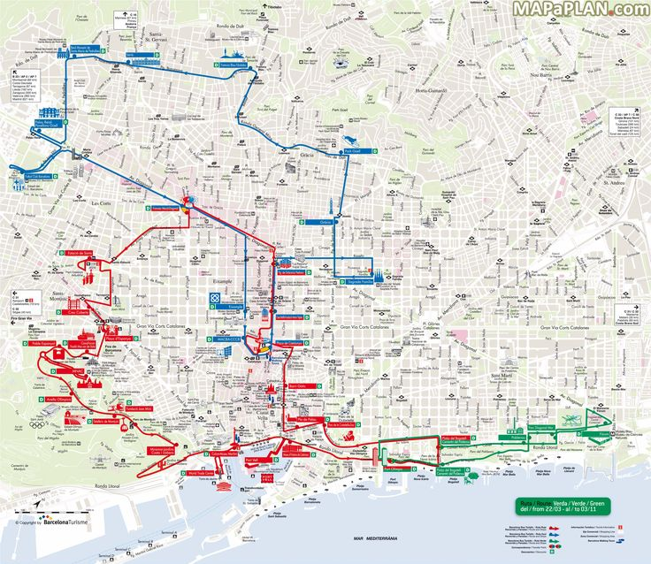 City Sightseeing hop-on hop-off bus tour Red Blue Green turistic routes Barcelona top tourist attractions map