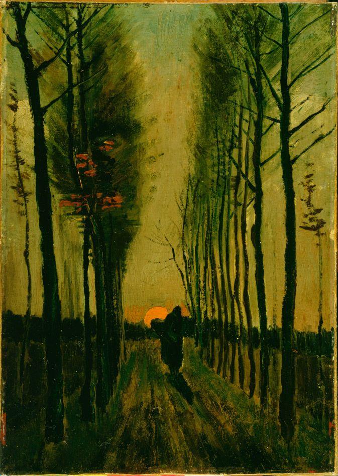 "Vincent van Gogh (1853-1890), Lane of Poplars at Sunset, 1884, Oil on canvas, 18-1/16 x 12-11/16"", Kröller-Müller Museum, Otterlo, The Netherlands."