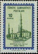 Mosque in Edirne, Edirne three balconies of the 600th Year of the Conquest series Year of publication: 1963 Offset printing where the printed APA-Istanbul Offset Artist: AS Unver