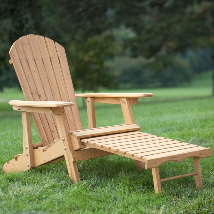 Good Reclining Adirondack Chair With Pull Out Ottoman In Natural Fir Wood