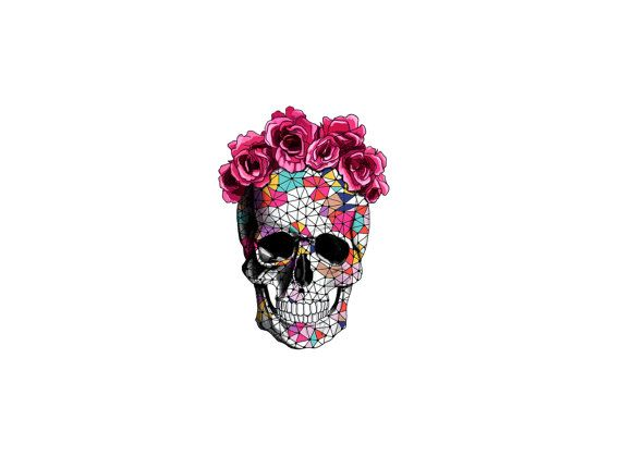 geometrics sugar skull with rose floral crown temporary tattoo - small - mothers day