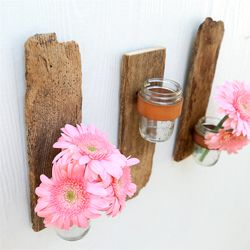Reclaimed wood + used leather belts + mason jars = a fabulous wall sconce for a good cause.: Reclaimed Wood, Decor Ideas, Rustic Wall, Wall Sconces, Natural Wood, Wall Flowers, Mason Jars, Leather Belts, Barns Wood