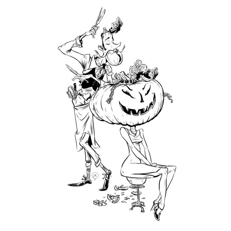 Day 61: Pre-holiday fuss  #illustration #MittRoshin  #characterdesign #Halloween #holiday #barber #pumpkin #barber`s shop #jack o'lantern