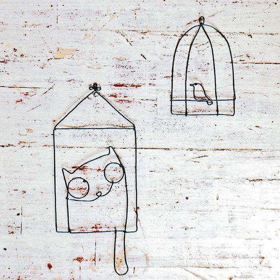 Chat et oiseau par WireDreams sur Etsy