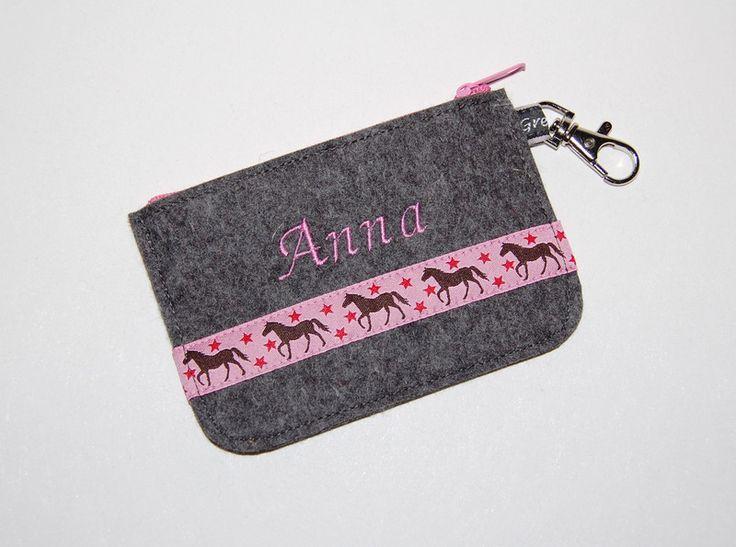 Mini - Geldbörse Pferde rosa mit Namen für Mädchen von Gretels Werke auf DaWanda.com