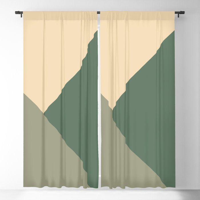 Tan Meets Sage Cactus Green Geometric 1 Minimal Decor Art Society6 Blackout Curtain By Anitabellajantzart Society6