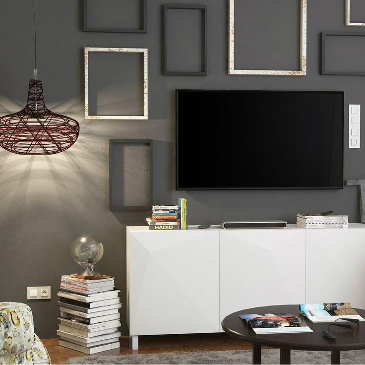 Sleek black and white TV area 14
