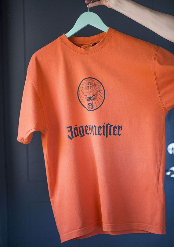 9f31f9b21 Jagermeister t shirt orange short sleeve vintage. Cotton Tee stag s head  antlers. Size M tangerine T shirt for men botanicals drink