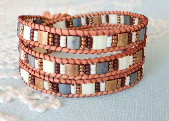 Leather Wrap Bracelet With Tila Beads by MaisJewelry on Etsy