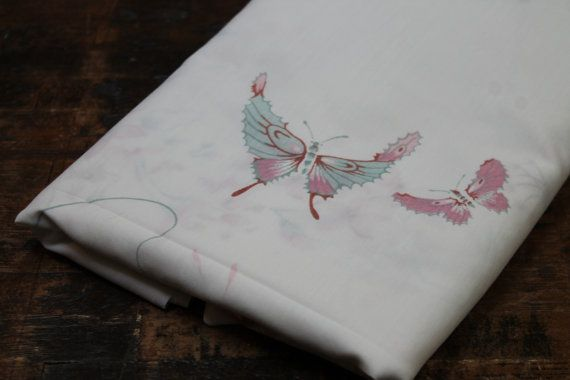 Vintage Bed Sheet flat sheet Vintage Asian Butterfly bed sheet reclaimed bed linens Twin size flat sheet 1980's pink blue butterfly sheet on Etsy, $9.00