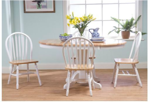 round oval leaf adjustable wooden dining set table chairs 5 piece