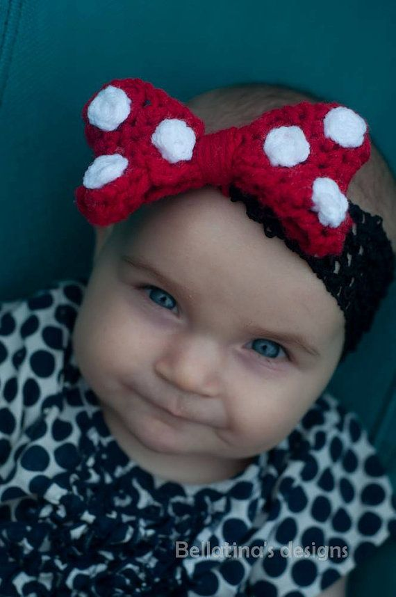 Large Polka Dot Bow Minnie Mouse inspired bow on either headband, clip or elastic.  Too cute!