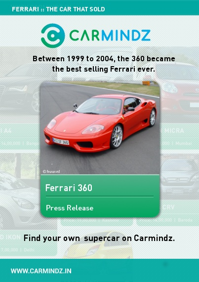 Ferrari 360 (1999-2004); Sales 17,000.  The best-selling Ferrari in history. The company made a special one-off model - the 360 Barchetta - as a wedding present to Ferrari president Luca di Montezemolo  Source: telegraph.co.uk