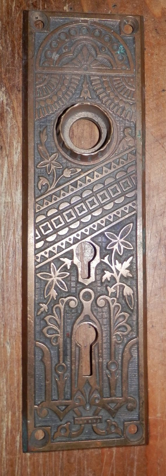Antique Vintage Cast Brass Eastlake Doorknob Plate Circa
