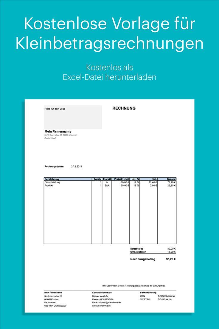 Kleinbetragsrechnung Unter 150 Euro Kostenlose Vorlage In Excel Rechnung Vorlage Vorlagen Excel Vorlage