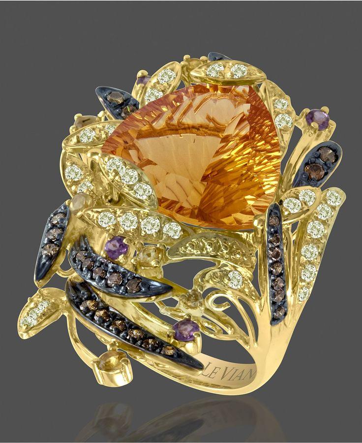 Le Vian 14k Gold Ring, Citrine, White Topaz , Chocolate Diamond and Garnet - unique jewelry