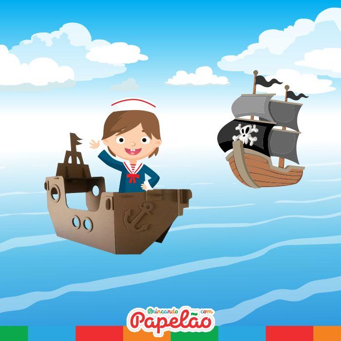 Um navio pirata está se aproximando do nosso! Ah, não! E agora? Estamos indo em direção a uma baleia azul, o que vamos fazer? Calma, vire o leme todo para a esquerda. Ufa, deu certo! Agora vamos navegar o mais rápido que pudermos, até chegarmos a alguma ilha segura, para esconder nosso tesouro desses piratas!  As crianças são apaixonadas por navios e histórias de piratas? Que tal dar mais vida a essa criatividade toda e embarcar com eles nessa imaginação.