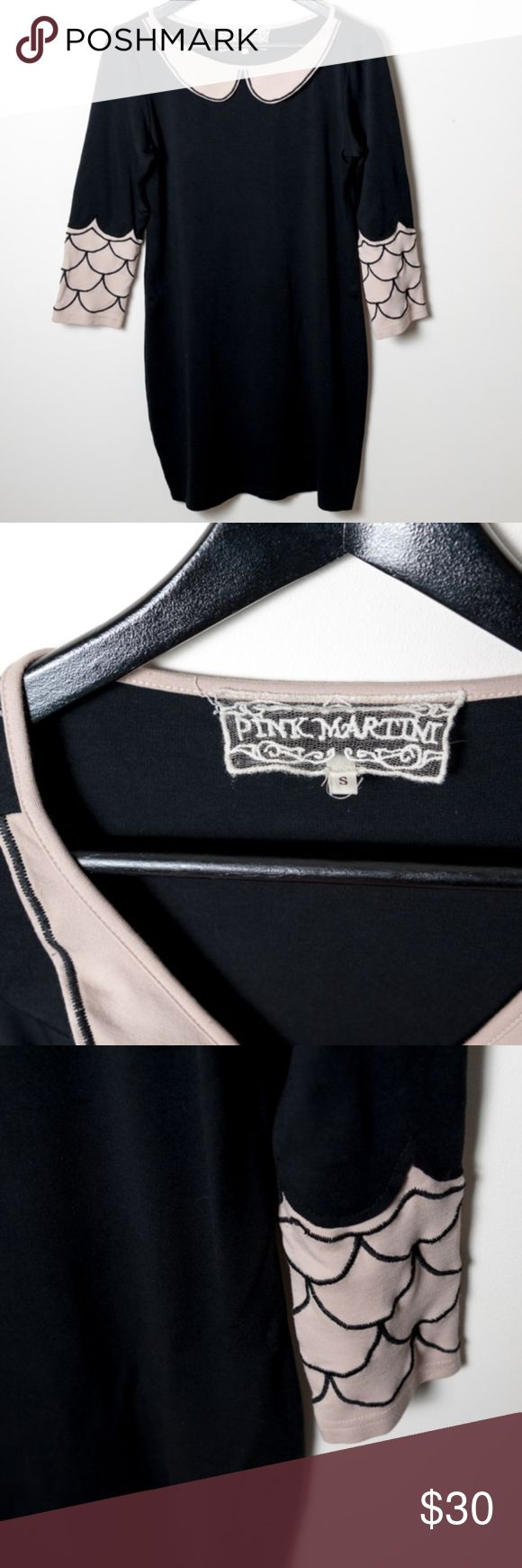 Pink Martini Black Dress Pink Blush Trim Small Little Black Dress from Pink Martini. Graphic black and blush peter pan collar and scalloped sleeves. Good preloved condition. No noticeable holes, stains or rips. Pink Martini Dresses Mini