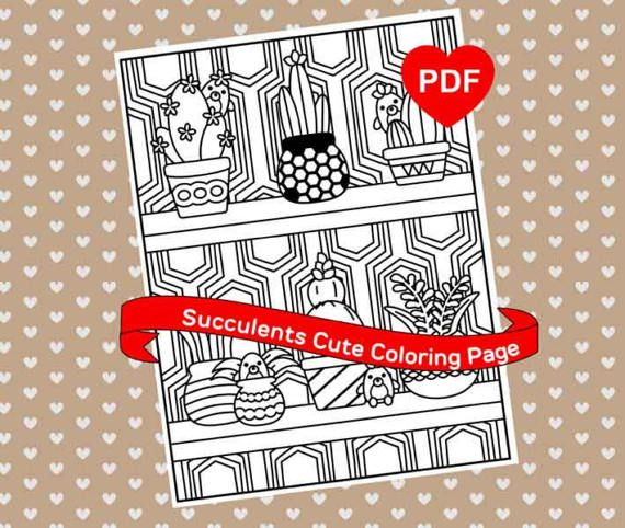 Kawaii Succulents Coloring Page Cute PDF Printable By AdoreNeko