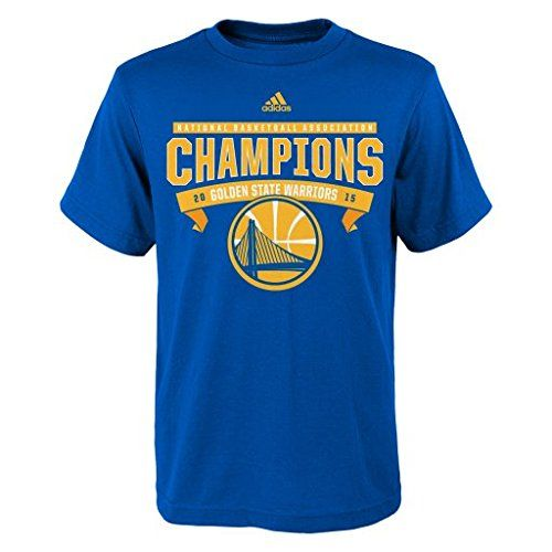 """NBA Golden State Warriors Youth Boys 8-20 """"Banner Champions Roster"""" Short Sleeve Tee, Small (8), Royal"""