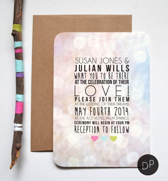 Colorful Wedding Invitation // DAYDREAMPRINTS