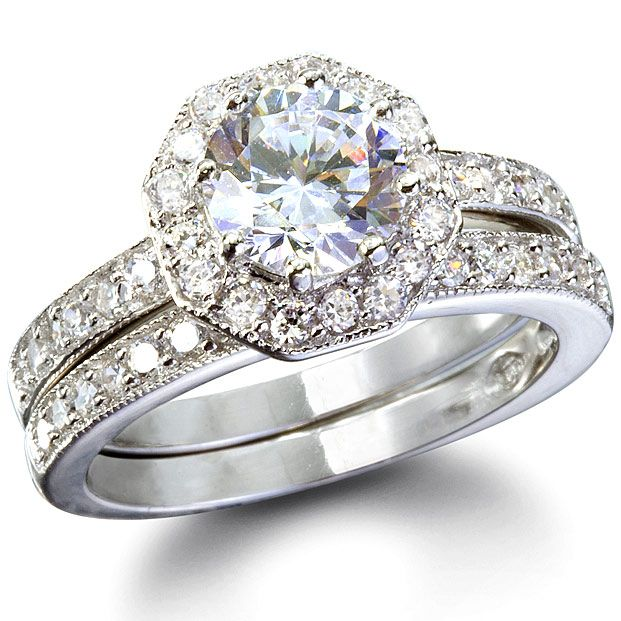 wedding ring sets home rings phoebes octagon shape cz wedding ring set
