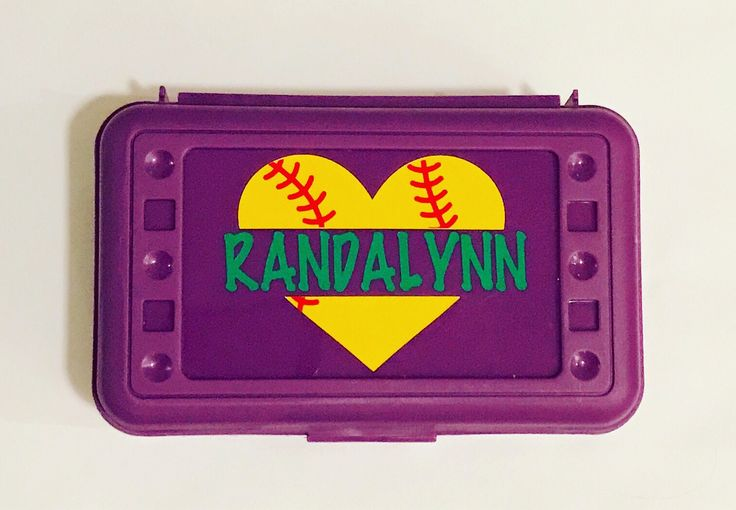 Personalized Pencil Box - Softball - Back to School, School Supplies, Pencil Case, Pencil Box, Softball Heart, Baseball Heart by MamaBforMe on Etsy https://www.etsy.com/listing/541141649/personalized-pencil-box-softball-back-to