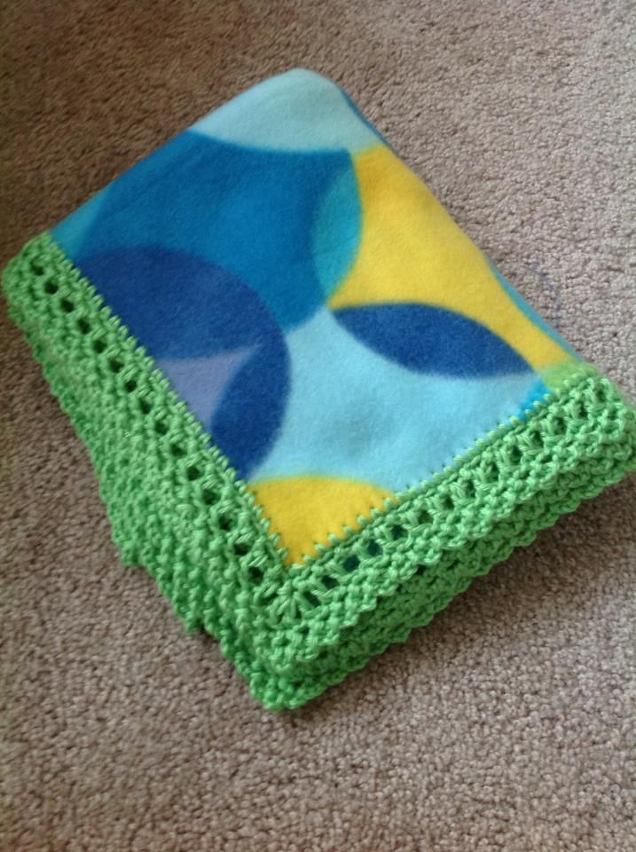 1) UNISEX BLANKET EDGE:   Materials: -Scissors -1 yard of fleece (or micro-fleece) -1 skein of yarn 'Simply Soft' (in color matching your fabric) -1 hook size either 1.3, or 1.4,...