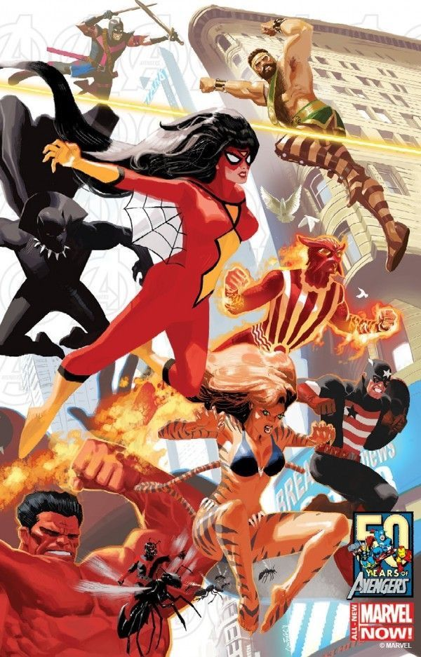 Terra 616: Mulher Aranha, Pantera Negra, Rulk, Homem Formiga, Tigresa, Espadachim, Shiro Yoshida, Agente Americano & Hércules.
