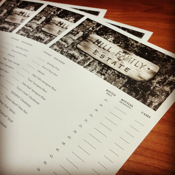 Wine ordering forms for the tasting room at Hill Family Estate. These were printed using an off-set printer. #hillfamilyestate #businessprinting #offset