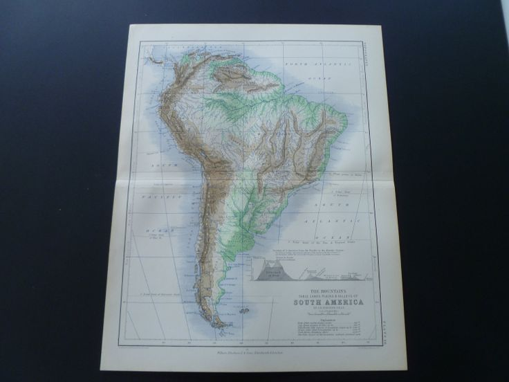 antique map of South America 1873 old print inset mountains Cordillera Cotopaxi Mapa antiguo de América del Sur Zuid Amerika 27x34cm/11x13'' €13.95 via @Shopseen