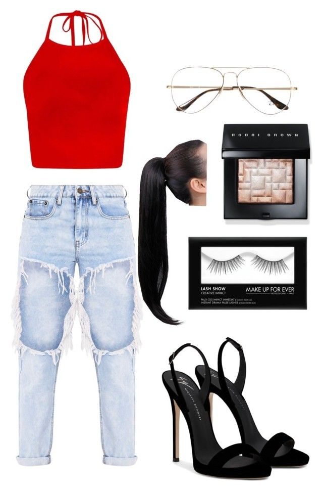 """""""Untitled #8"""" by cande-monier on Polyvore featuring Giuseppe Zanotti, Ray-Ban and Bobbi Brown Cosmetics"""