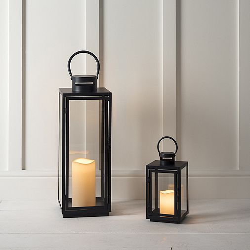 Tesco direct: Set of Two Black Metal Battery Outdoor LED Candle Lantern