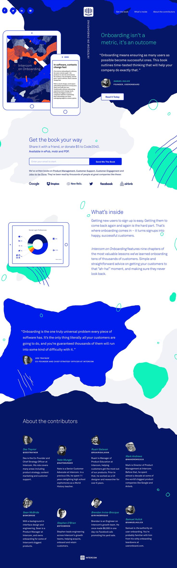 Awesome colorful landing page promoting Intercom's new free ebook on user onboarding.