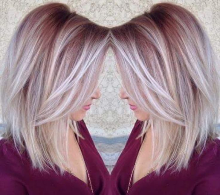 Pretty maroon color shadow roots to white blonde ends