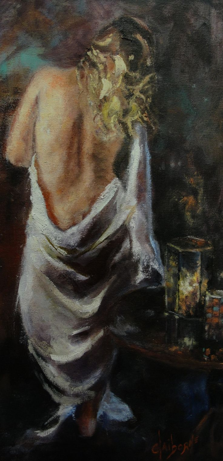 Oil Painting of woman's draped back lit by candles  10x 20 Oil on Canvas  $950.00 www.claibornescorner.com claibornescorner@aol.com